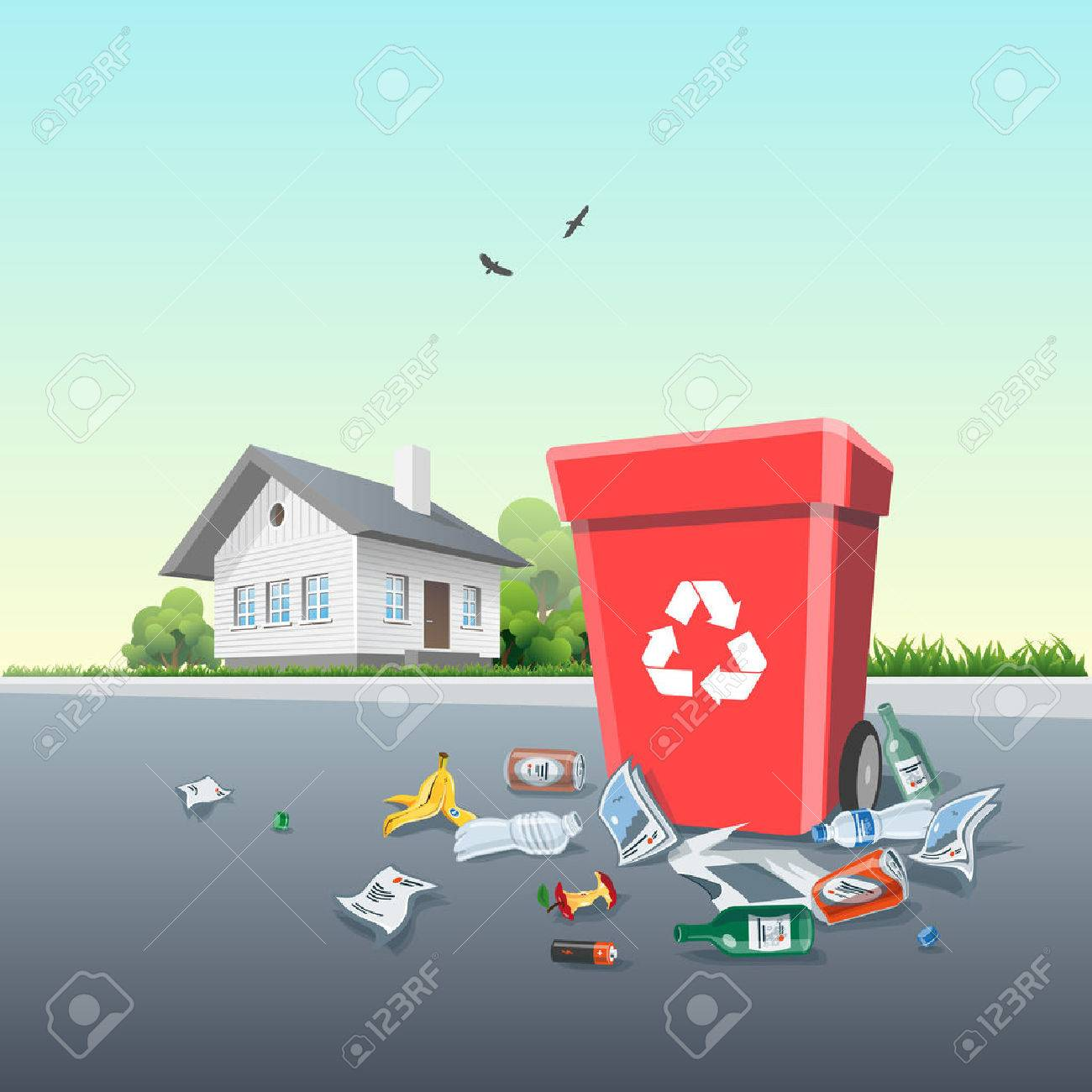Vector illustration of littering waste that have been disposed improperly, without consent, at an inappropriate location around the dust bin on the street exterior in front of the residential house. Garbage can is full of trash. Trash is fallen on the gro - 51678727