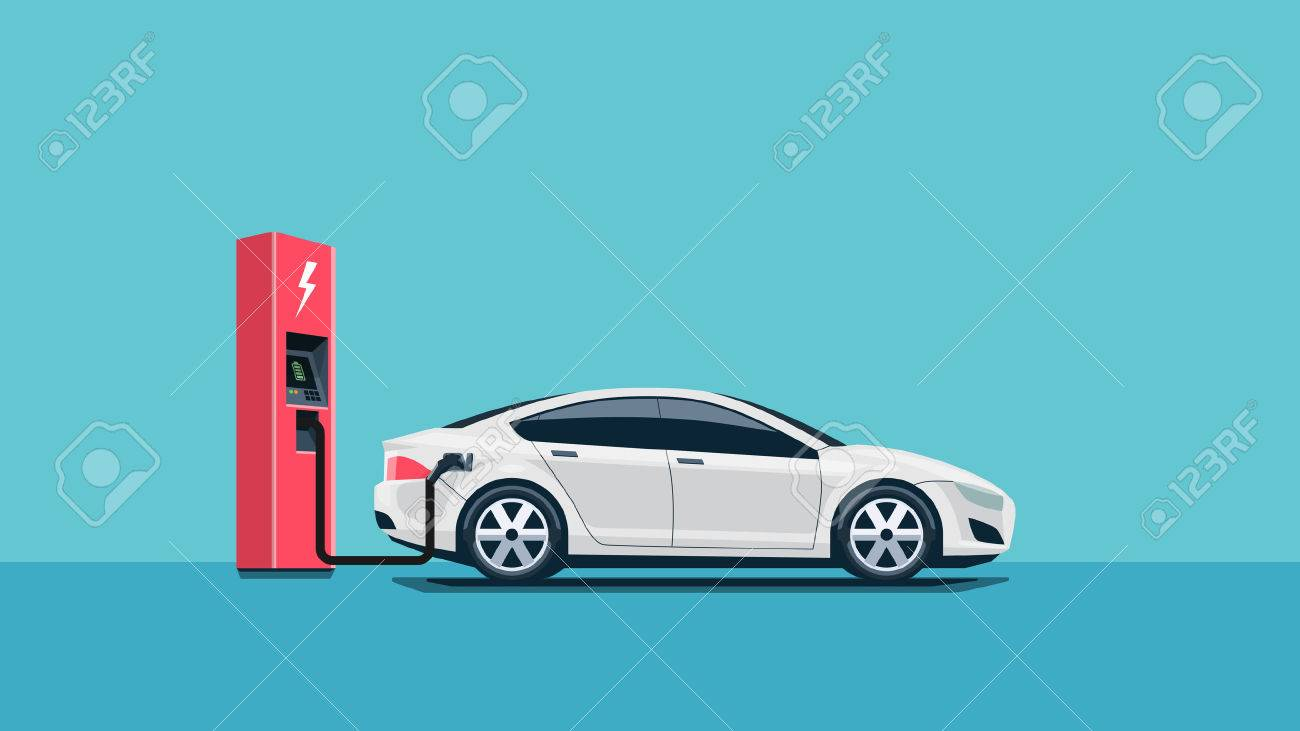 Flat vector illustration of a red electric car charging at the charger station. Electromobility e-motion concept. - 52435631