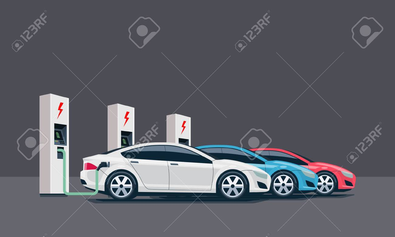 Flat vector illustration of three electric cars charging at the white charger station. Electromobility e-motion concept. Three electric battery chargers. - 52435637