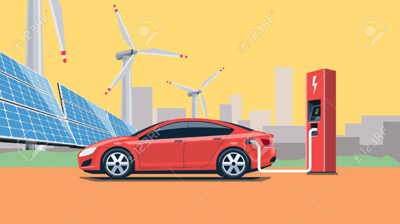 Flat vector illustration of a red electric car charging at the charger station in front of the solar panels and wind turbines. City skyline in the background. Warm retro feeling. Electromobility e-motion concept. - 53173270