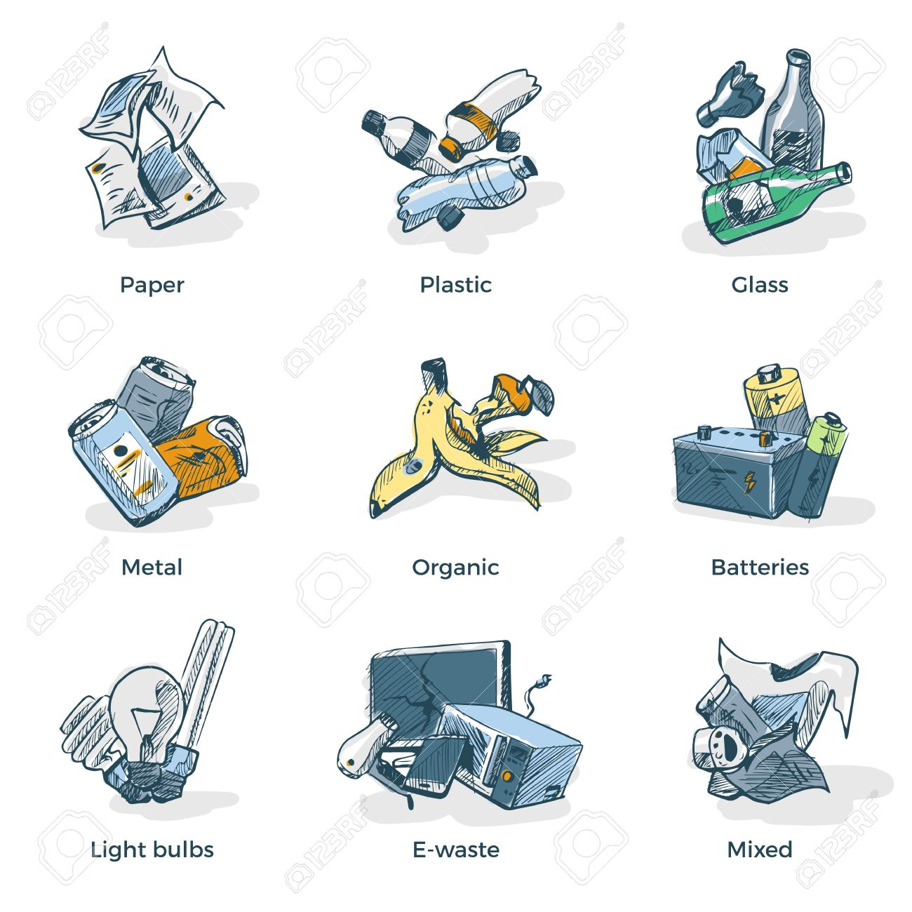 Hand drawn vector illustration sketch of trash categories with organic, paper, plastic, glass, metal, e-waste, batteries, light bulbs and mixed waste. Waste types segregation recycling management concept. - 54031477