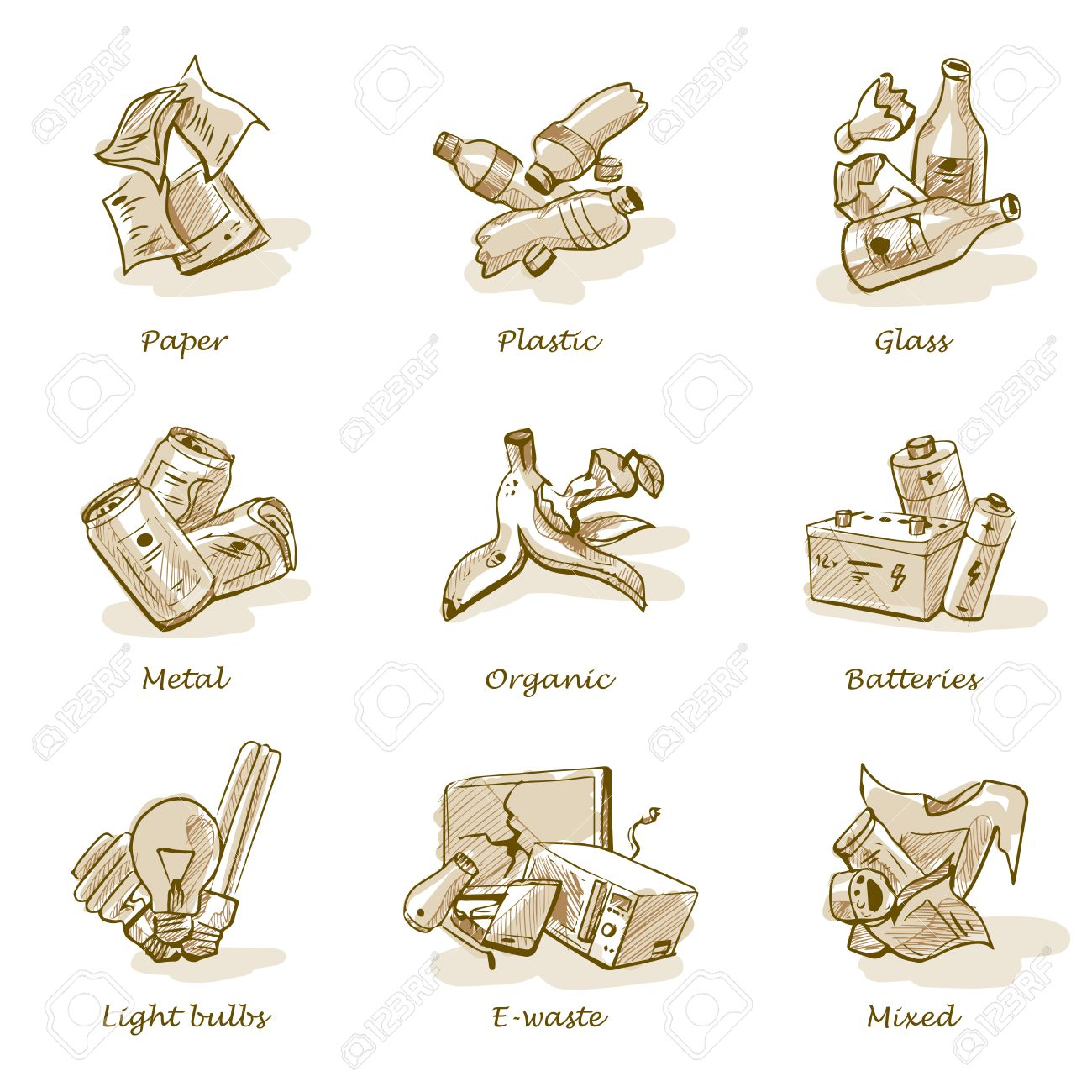 Hand drawn vector illustration sketch of trash categories with organic, paper, plastic, glass, metal, e-waste, batteries, light bulbs and mixed waste. Waste types segregation recycling management concept. - 54031478