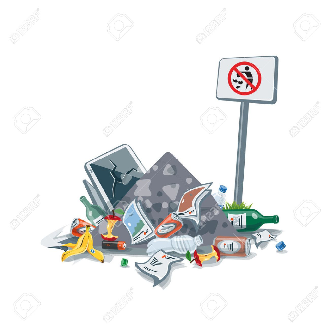 illustration of littering waste pile that have been disposed improperly, without consent, at an inappropriate location near the No littering sign board. Trash is fallen on the ground and creates a big stack. - 55840795