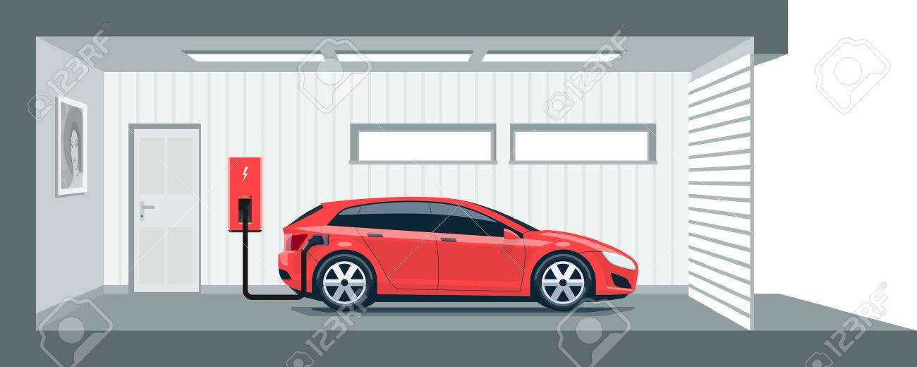 Flat illustration of a red electric car charging at the charger station point inside home garage. Integrated smart domestic electromobility e-motion concept. - 55841871