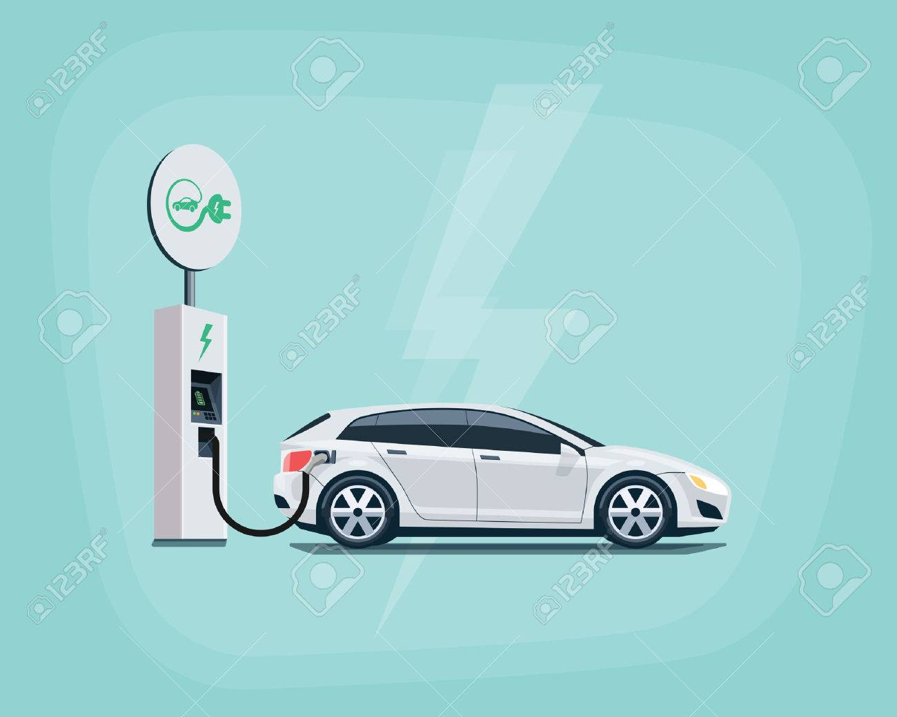 Flat illustration of a white electric car charging at the charger station with road sign. Electromobility eco e-motion concept. Electric car charging on pastel turquoise background. - 60007074