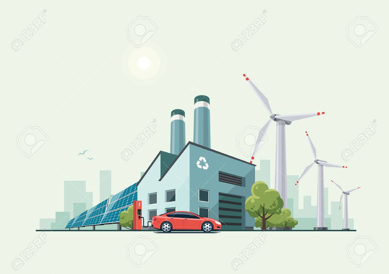 Vector illustration of modern green eco factory building with green trees and electric car charging in front of the manufactory in cartoon style. Solar panels and wind turbines in the background. - 62518413