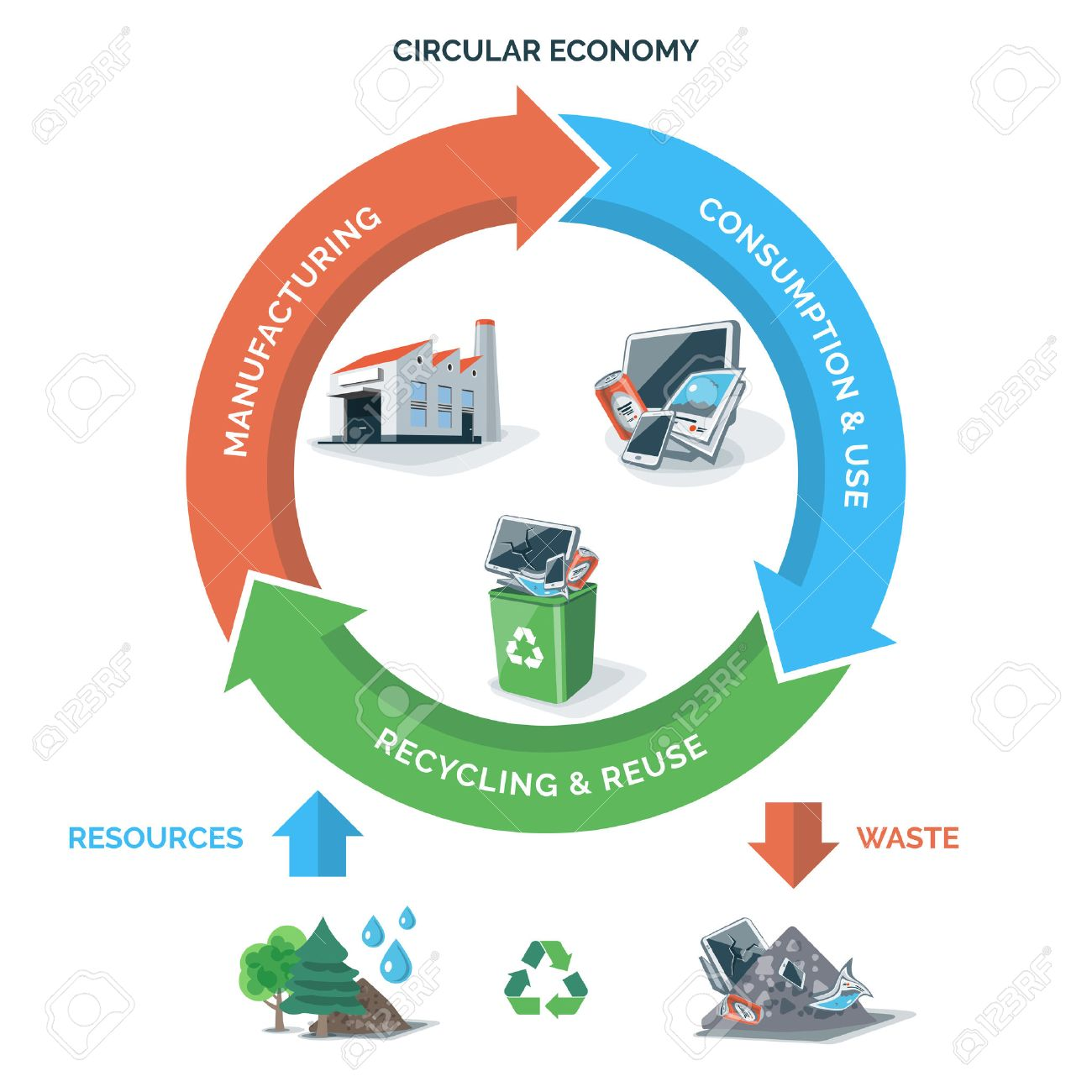 Vector illustration of circular economy showing product and material flow on white background with arrows. Natural resources are taken to manufacturing. After usage product is recycled or dumped. Waste recycling management concept. Product life cycle. - 68881804
