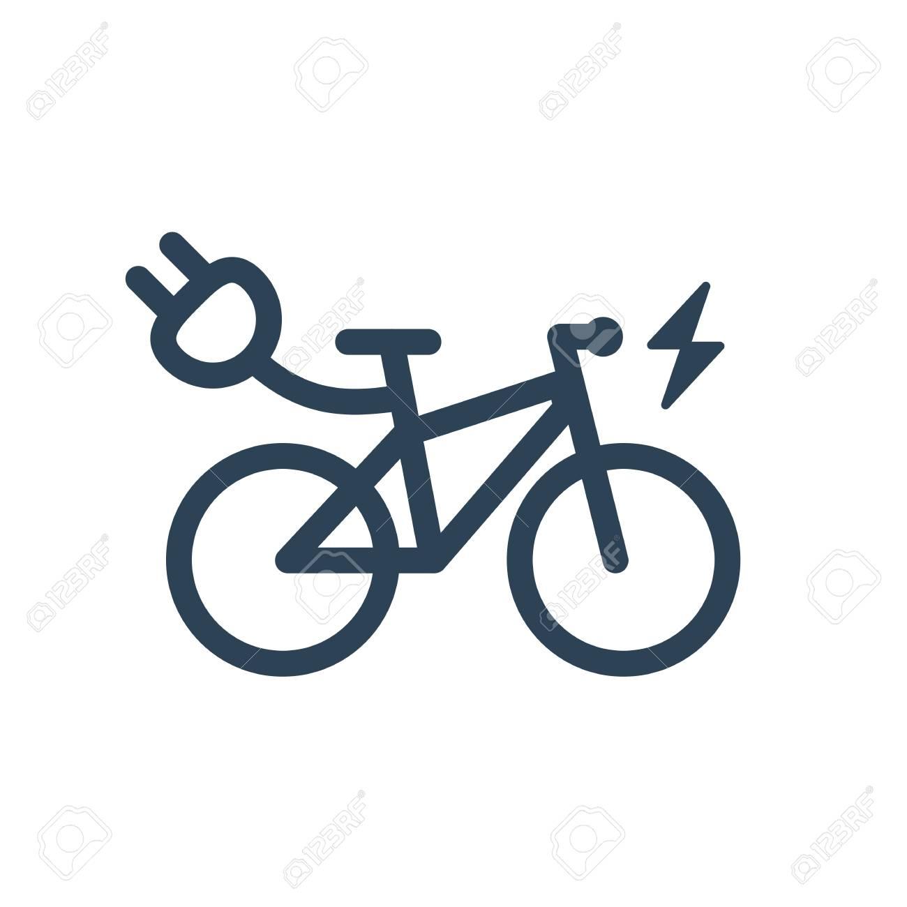 Icona Elettrica Isolata Di Simbolo Della Bici Di Città Su Fondo Bianco Sagoma Di Linea Di E Bike Trekking Con Segno Di Fulmine Di Illuminazione