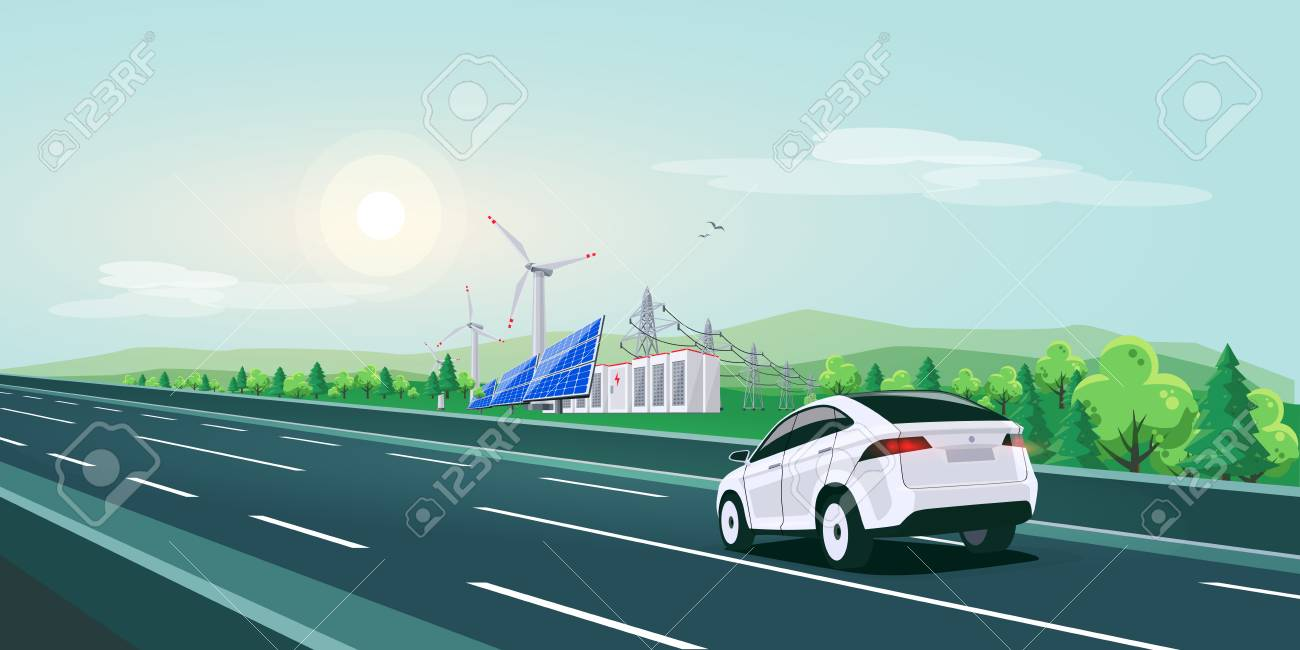 Vector illustration of electric car driving on empty highway