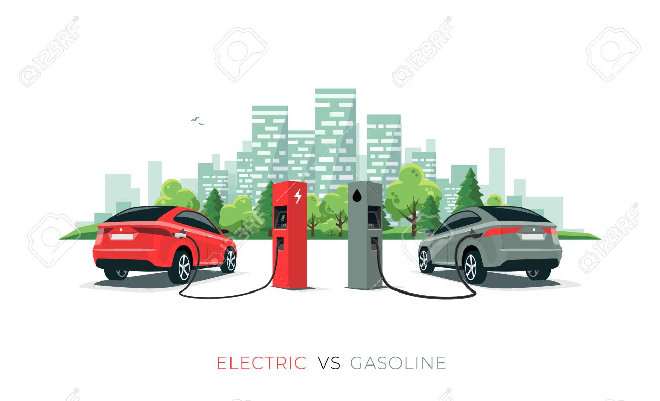 Electric versus gasoline car suv. Electric car charging at charger station vs. fossil car refueling petrol at gas station. Vector illustration with city building skyline isolated on white background. - 119793081