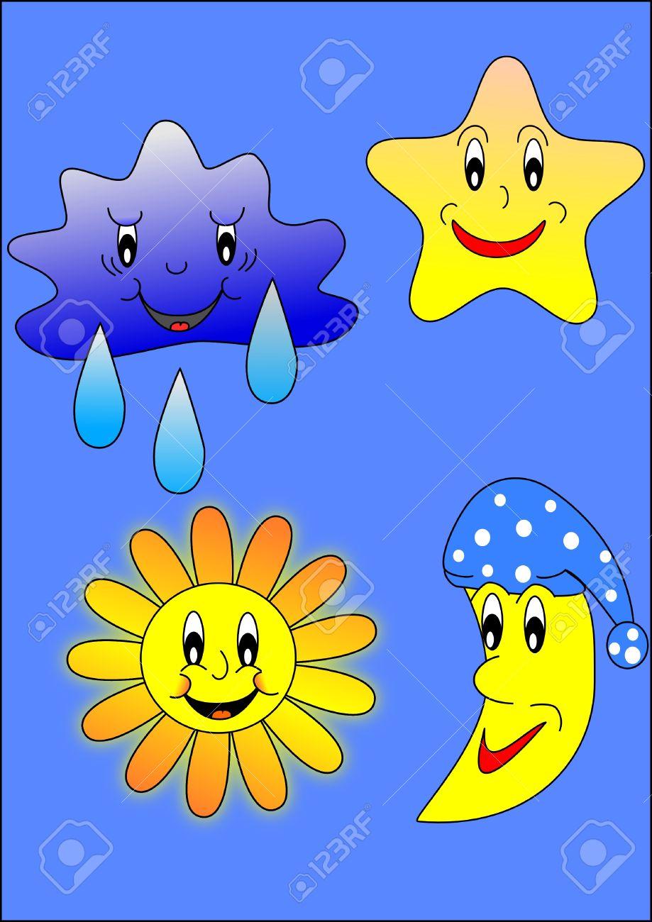 Sun, moon,star and cloud Stock Vector - 6427831
