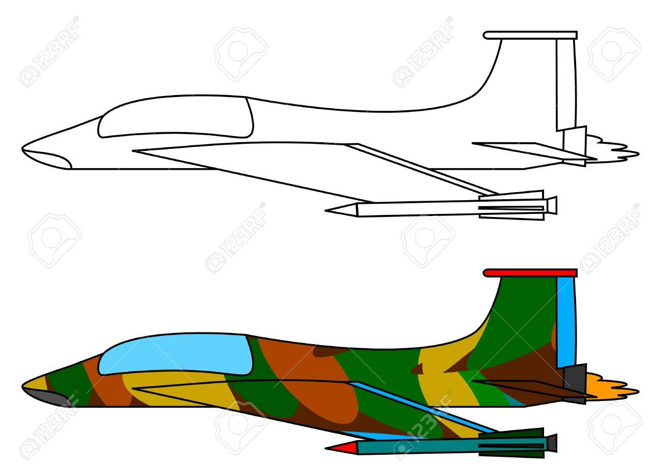 Military Fighter Aircraft - A Coloring Book Royalty Free Cliparts ...