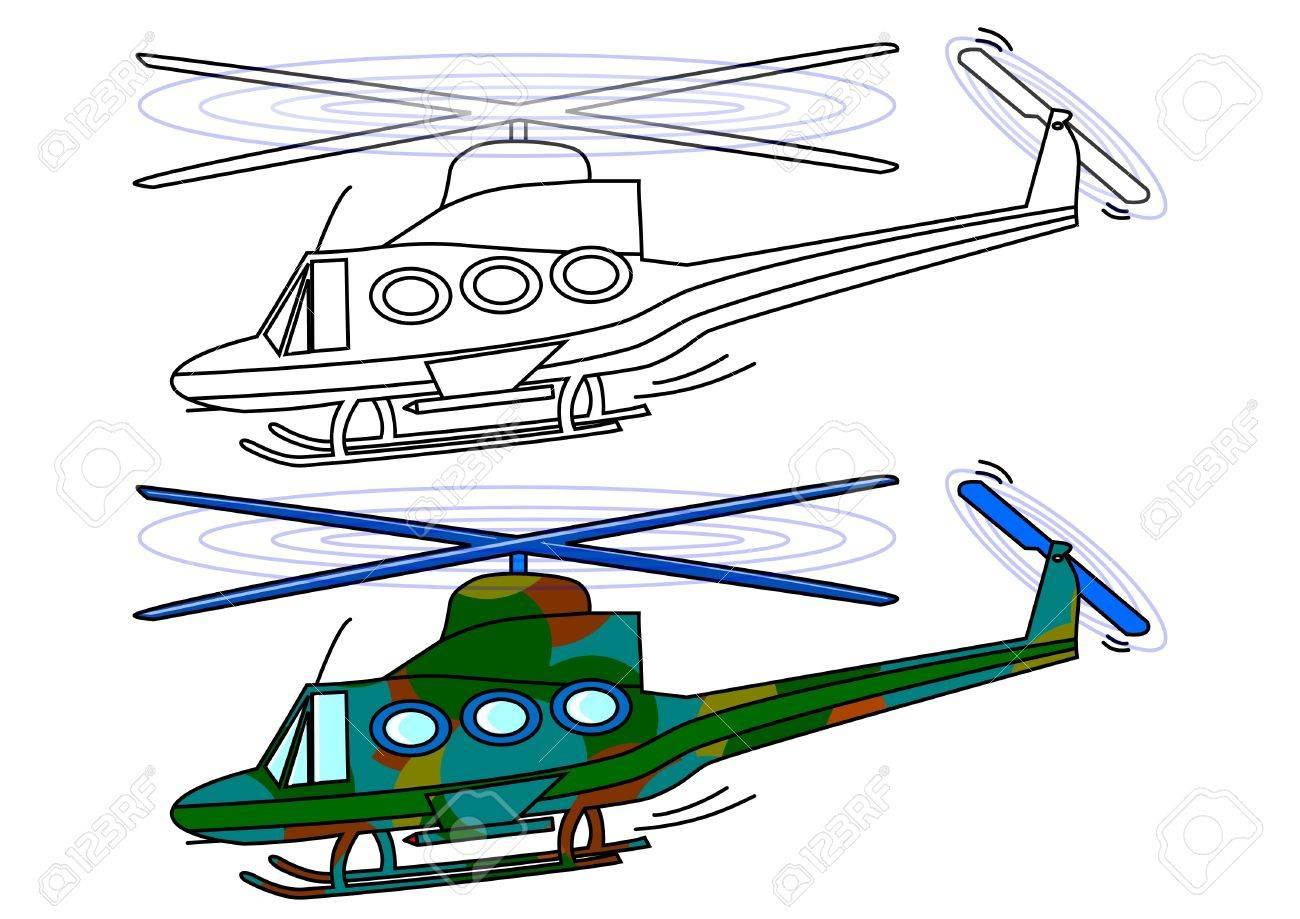 Helicóptero Militar Enmascarada Como Una Ilustración, Libro Para ...