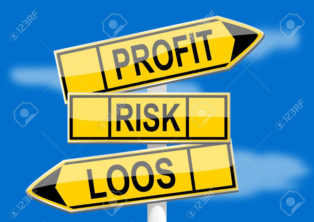 Signpost with direction indicators profit, risk, loss Stock Vector - 16373810