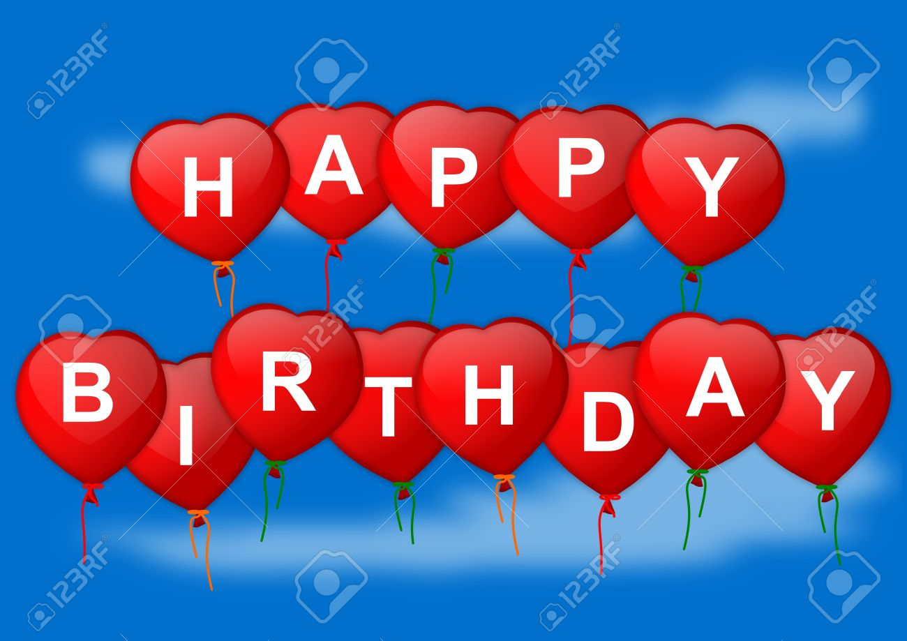 Happy Birthday Wish Inflatable Heart On Blue Background   Illustration  Stock Vector   16983722