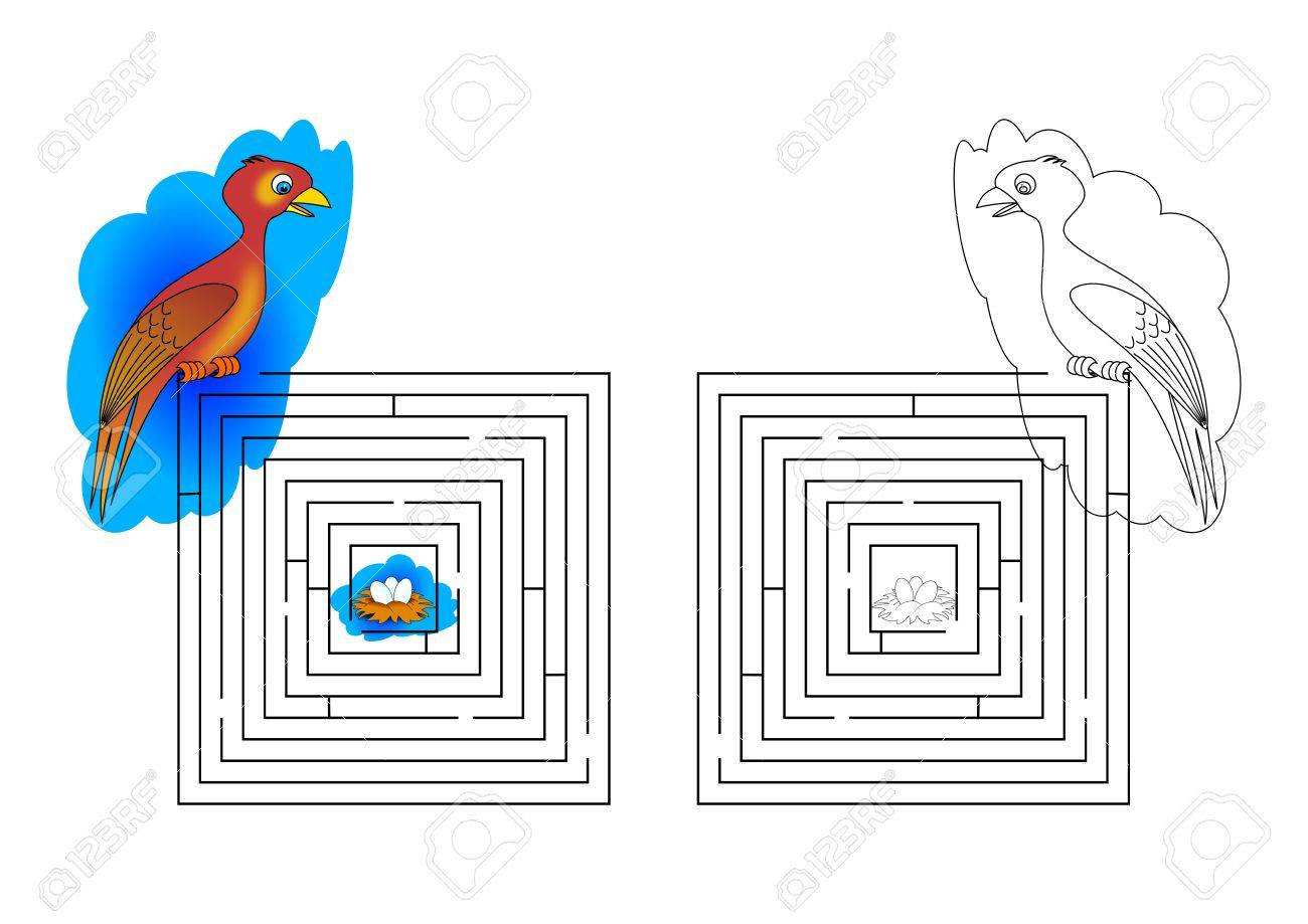 Dungeons And Coloring Pages For Kids With A Bird Nest - Illustration ...