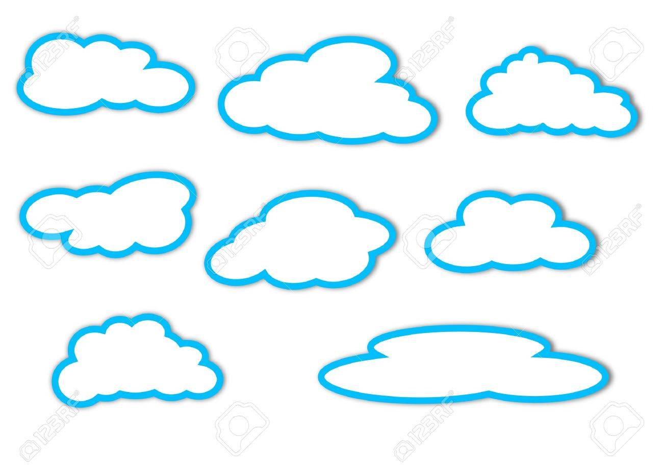 Different Clouds With A Blue Outline On White Background Stock Vector