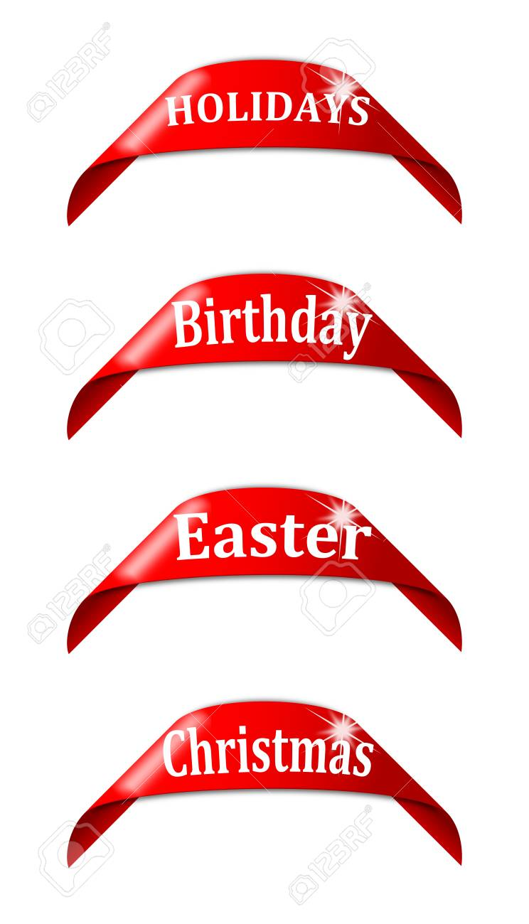 red labels with the names of holidays holidays birthday easter