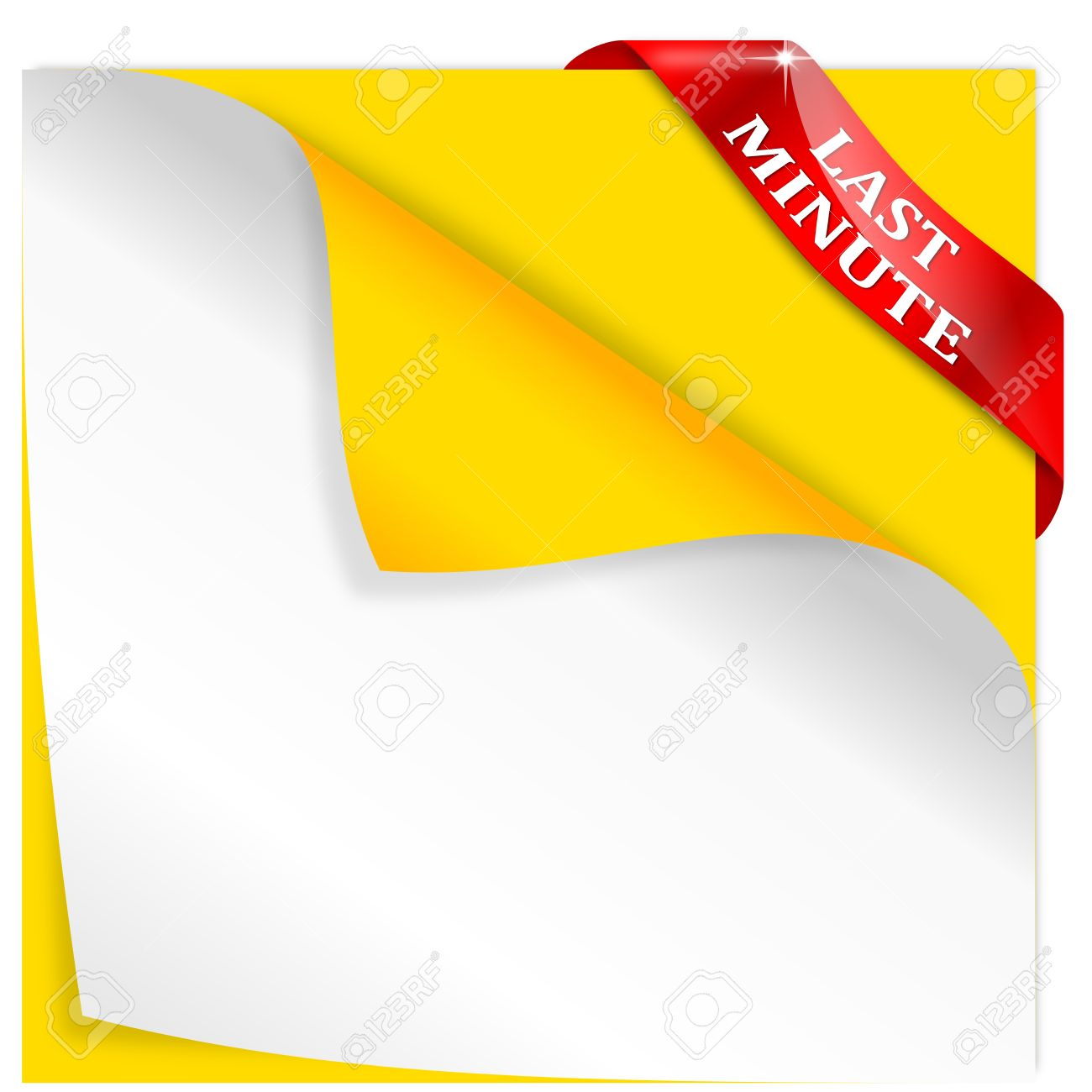 bent yellow paper a corner of a last minute sign vector bent yellow paper a corner of a last minute sign vector stock vector
