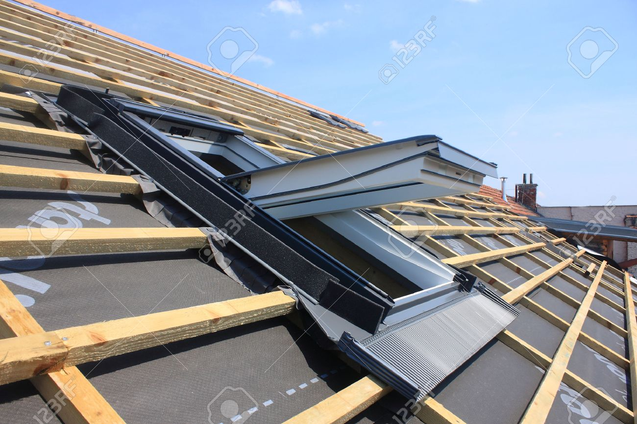 New Roof Coverings But Without The Skylights   Roof Windows Stock Photo    34892833