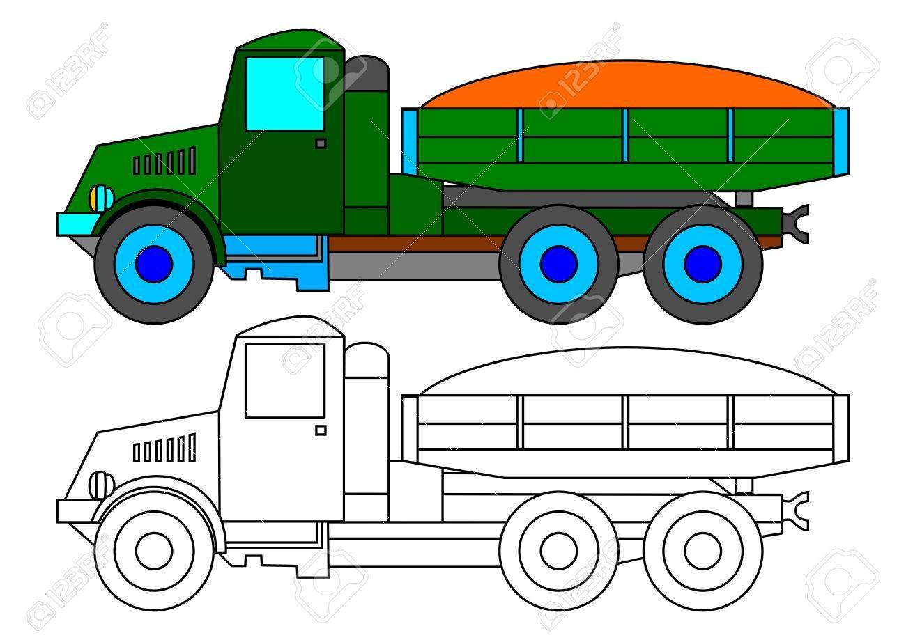 Camión Verde Histórica Con Una Carga De Arena Como Un Libro Para ...