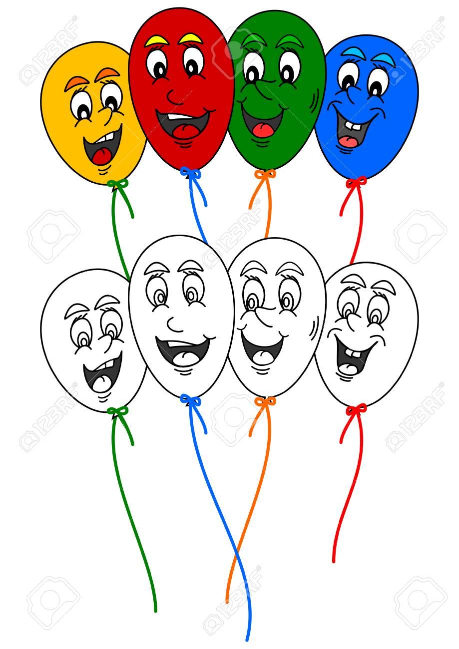 Vettoriale Libro Da Colorare Per I Piu Piccoli Con Palloncini Colorati Divertenti Image 49702764