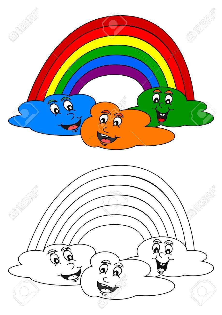 Vettoriale Sorridente Nuvole Colorate Con Un Arcobaleno Di Colori Come Un Libro Da Colorare Per I Piu Piccoli Vettore Image 50004292
