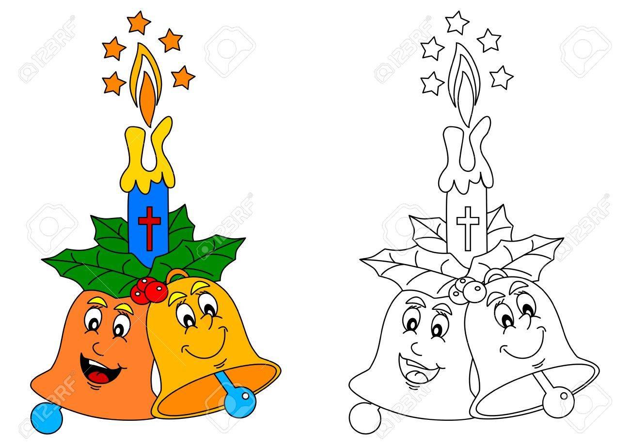 Dos Coloridos Campanas Alegres Y Llama De La Vela Como Un Libro Para Colorear Para Los Niños Pequeños Vector