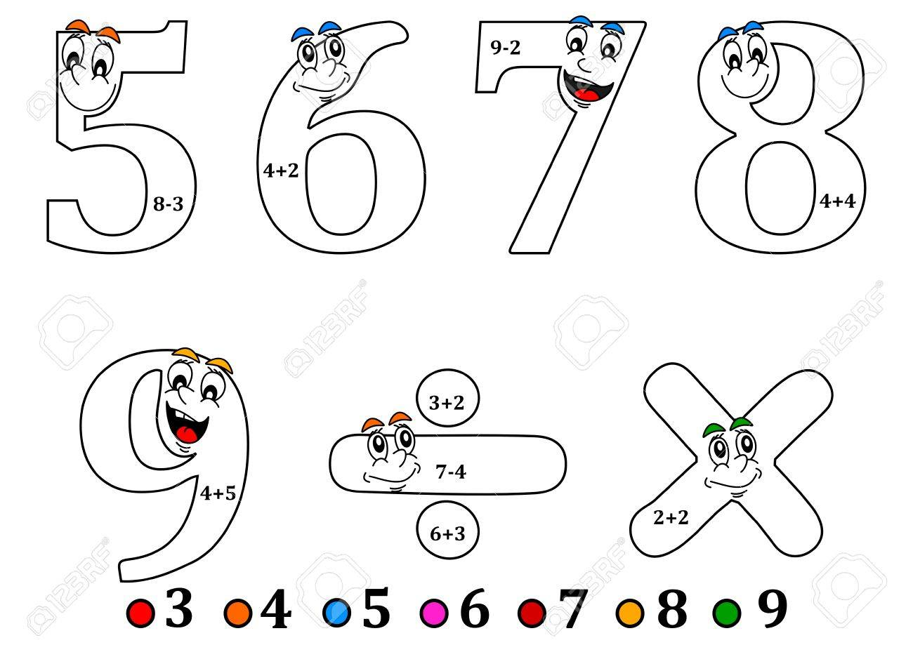 Cheerful Numbers To Painting As Counting For Little Kids - Coloring ...