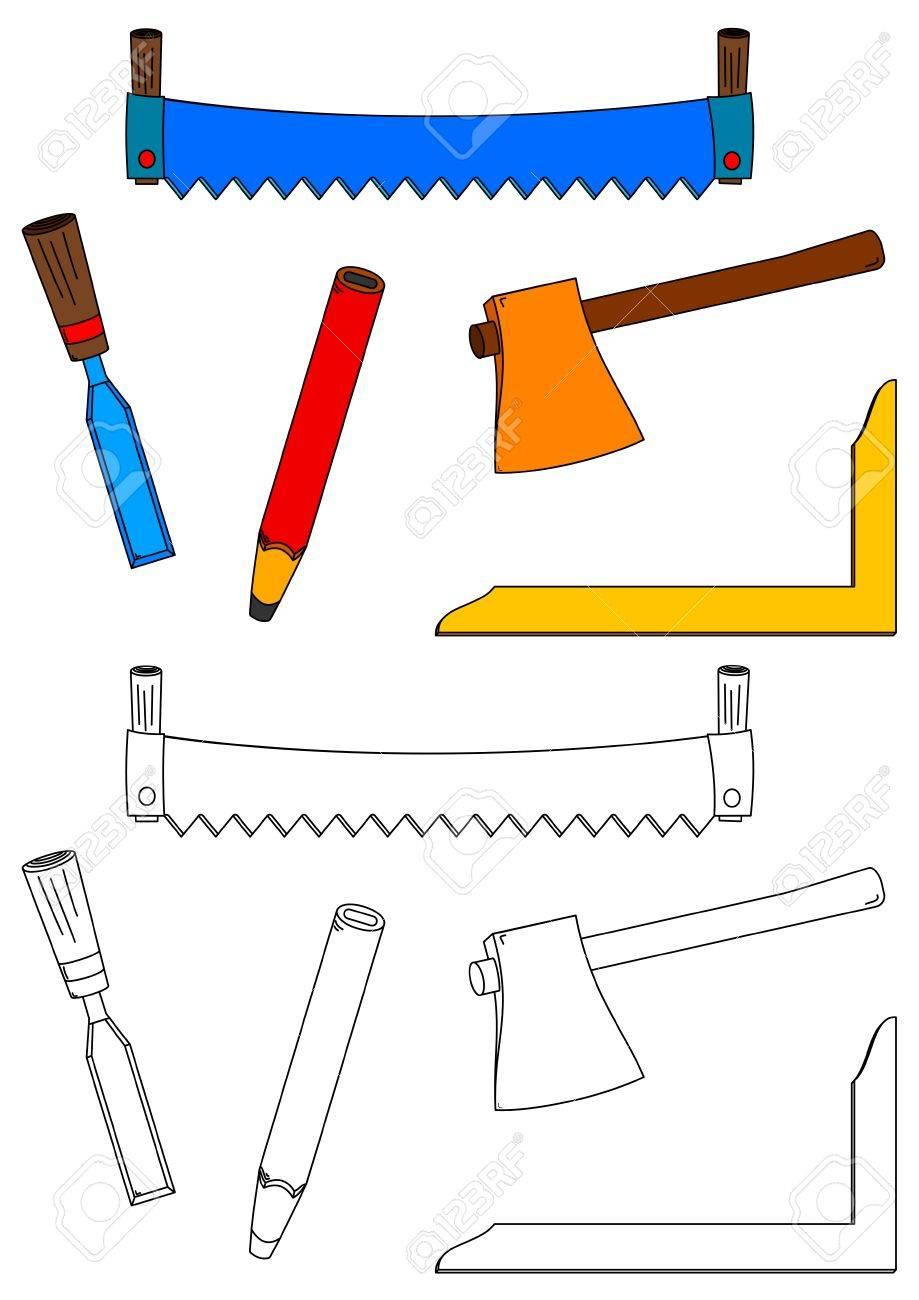 Herramientas De Carpinteria Sierras Hachas Cinceles Cuadrado Y