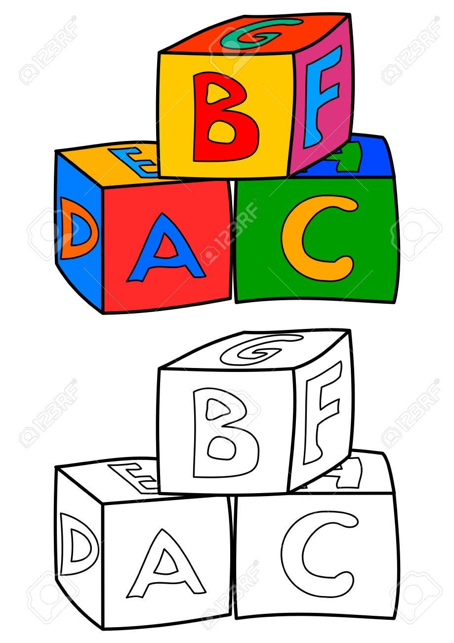 Tres Cubos De Colores Con Letras Diferentes Como Libros Para ...