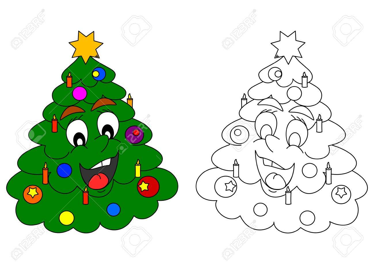 Smiling Christmas Tree As A Coloring For Little Kids - Vector ...
