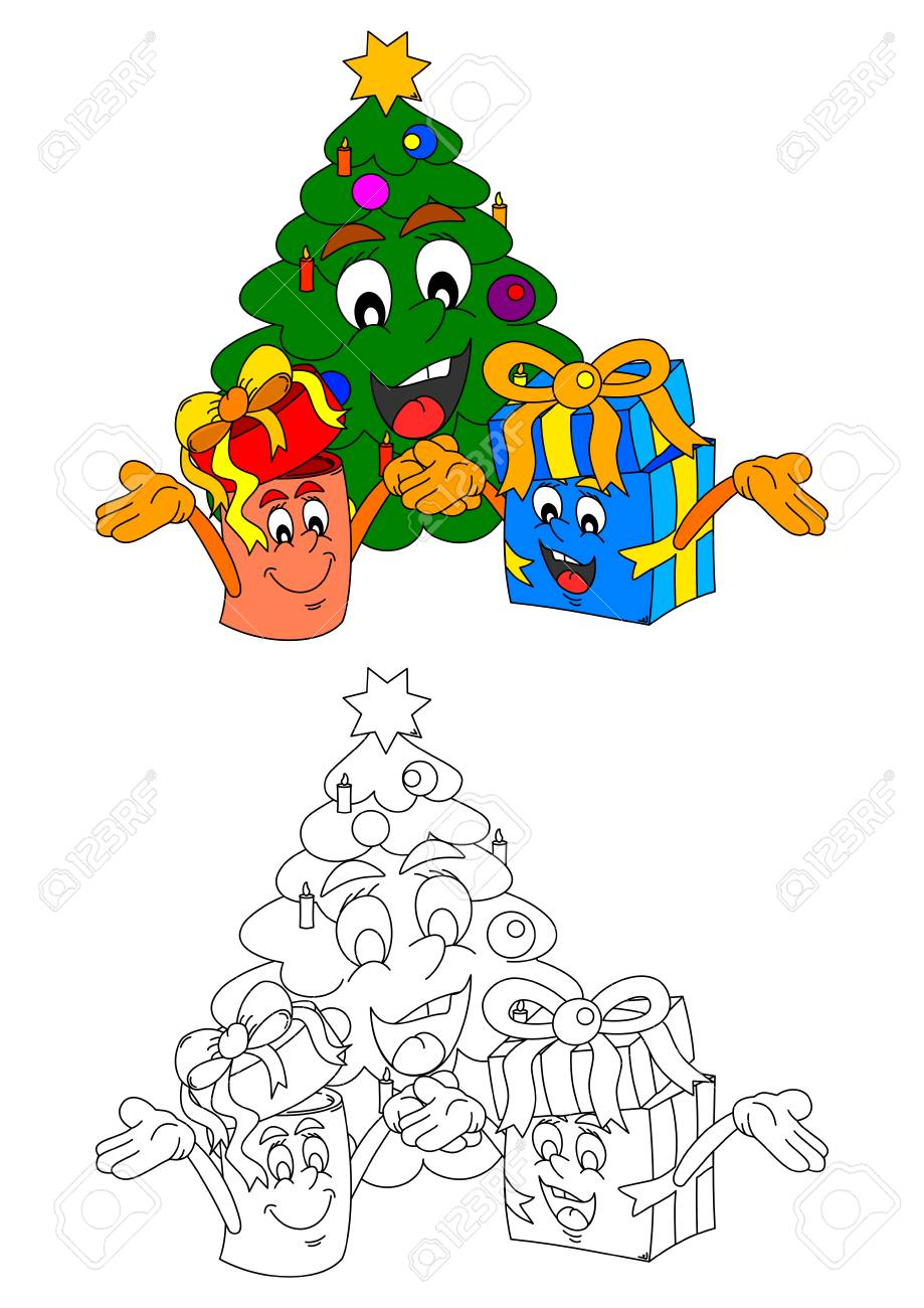 Smiling Christmas Tree With Smiling Gifts Like Coloring Books ...