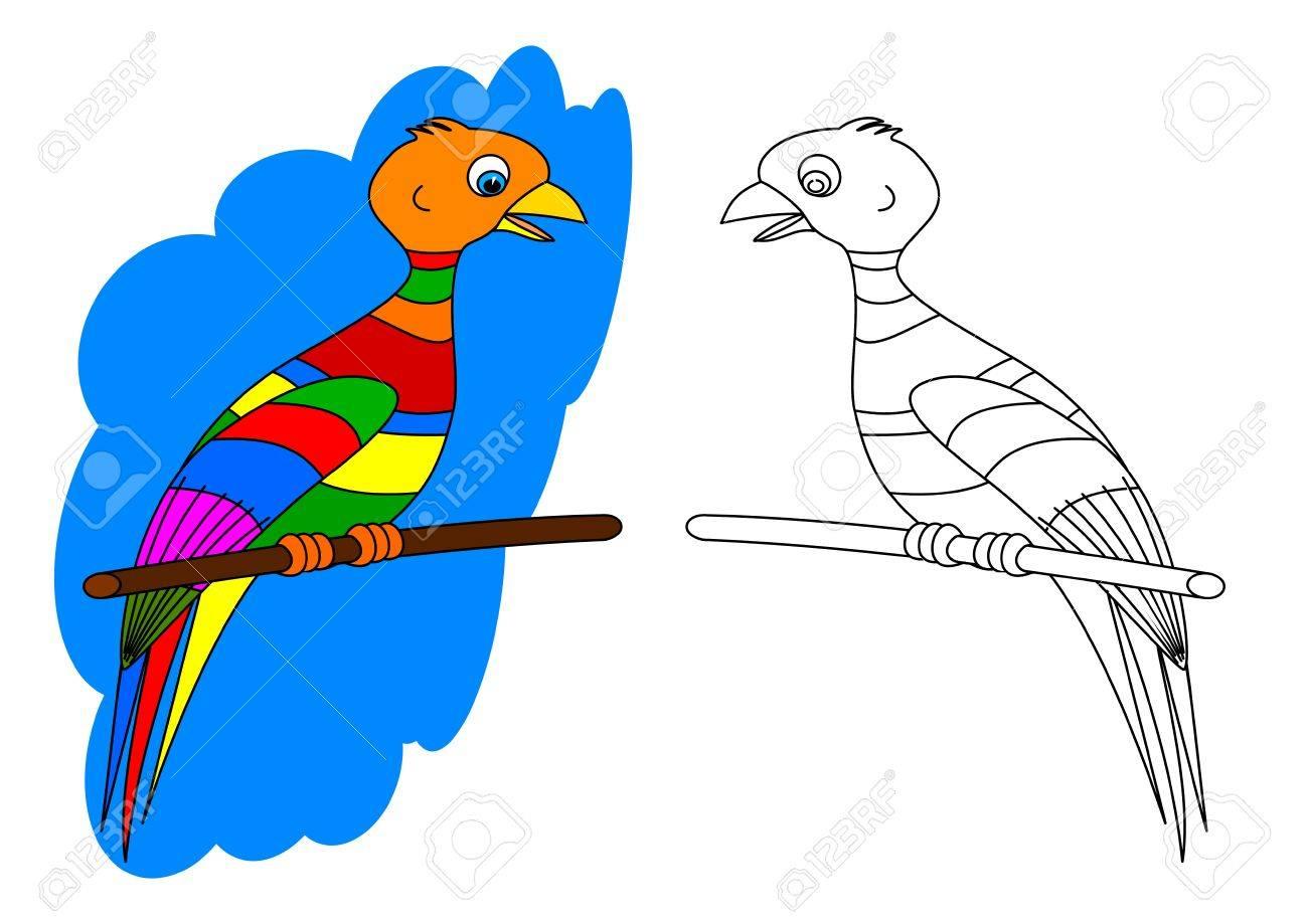 Colorido Pájaro En Una Perca Como Un Libro Para Colorear Para Los ...