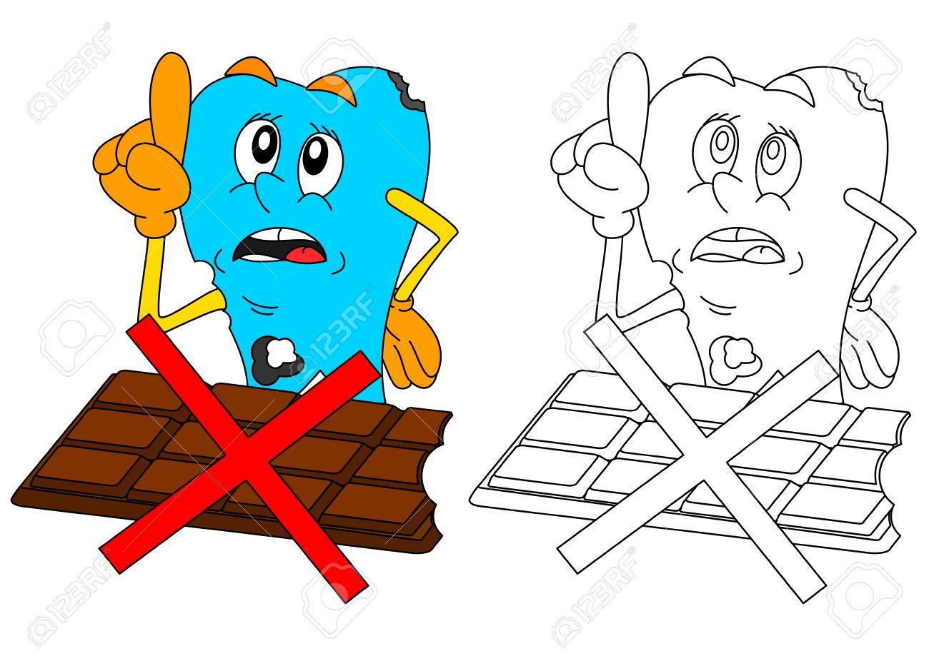 Diente Enfermo Triste Con El Chocolate Y La Alerta Reducido Como