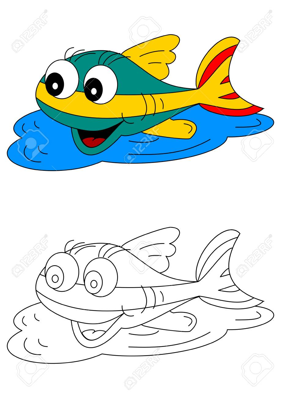 Color Coloring Book For Young Children - Colorful Fish - Vector ...