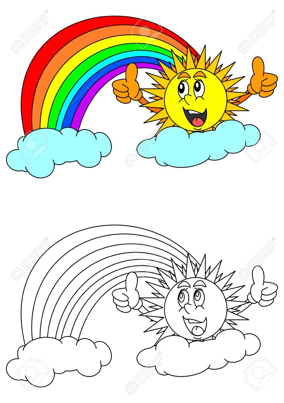 Sol Sonriente Con El Pulgar Hacia Arriba Arco Iris Las Nubes Y Un Libro Para Colorear Para Los Niños Pequeños Vector