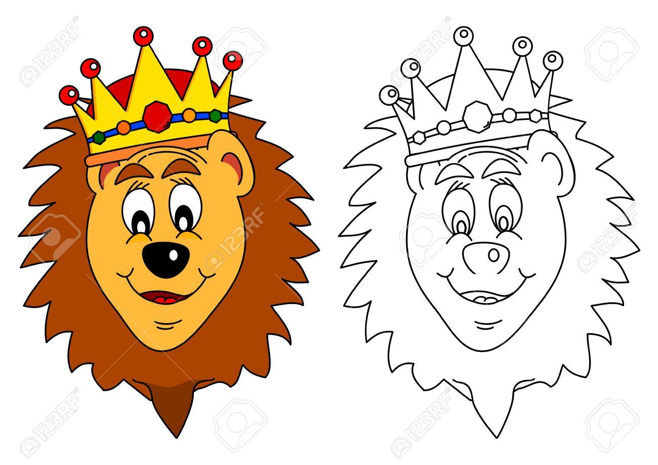 Rey De Los Animales De La Corona León Como Un Libro Para Colorear