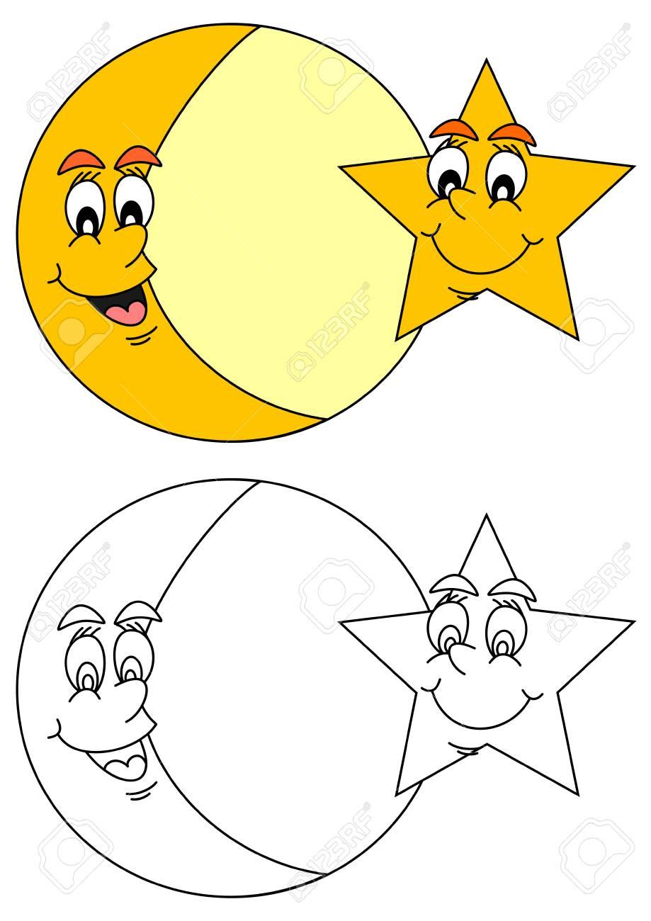Luna Y Estrella Con Una Sonrisa En El Rostro Como Libros Para ...