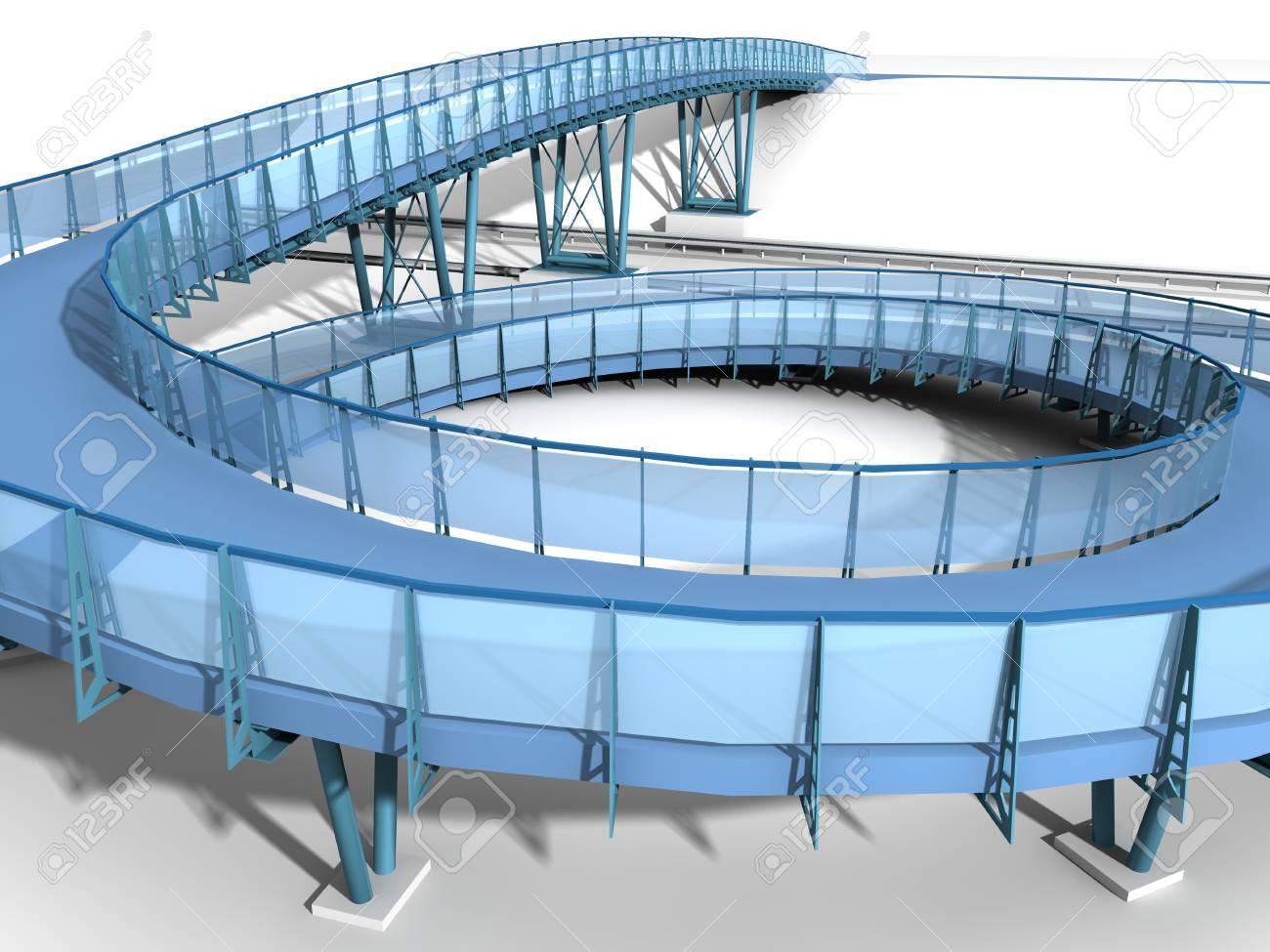 Steel blue bridge isolated on white background Stock Photo - 13943428