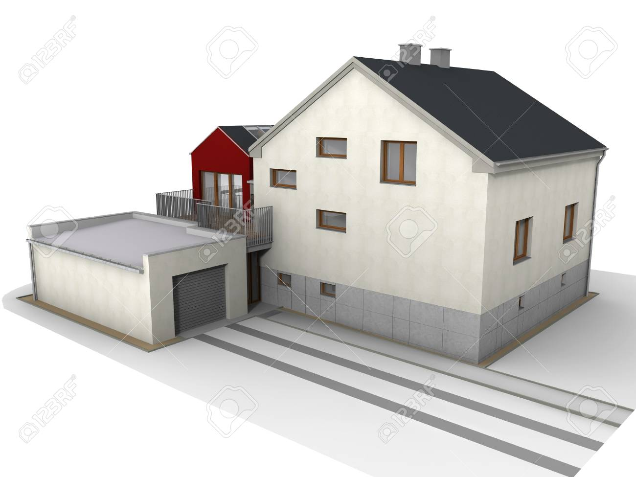 Modern family house design rendered structure Stock Photo - 15684891