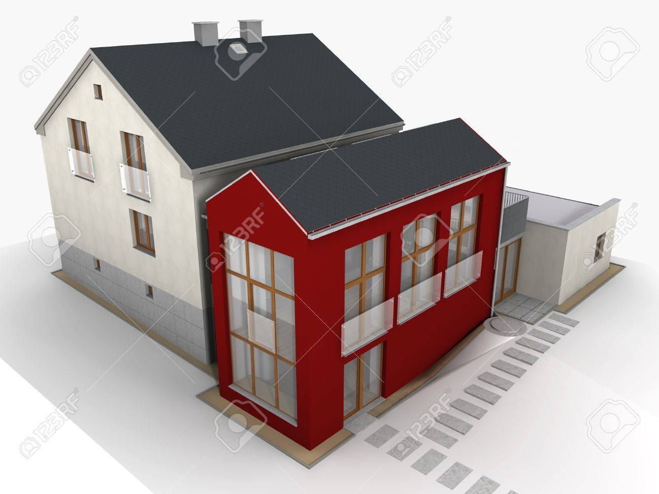 Modern family house design rendered structure Stock Photo - 15684899