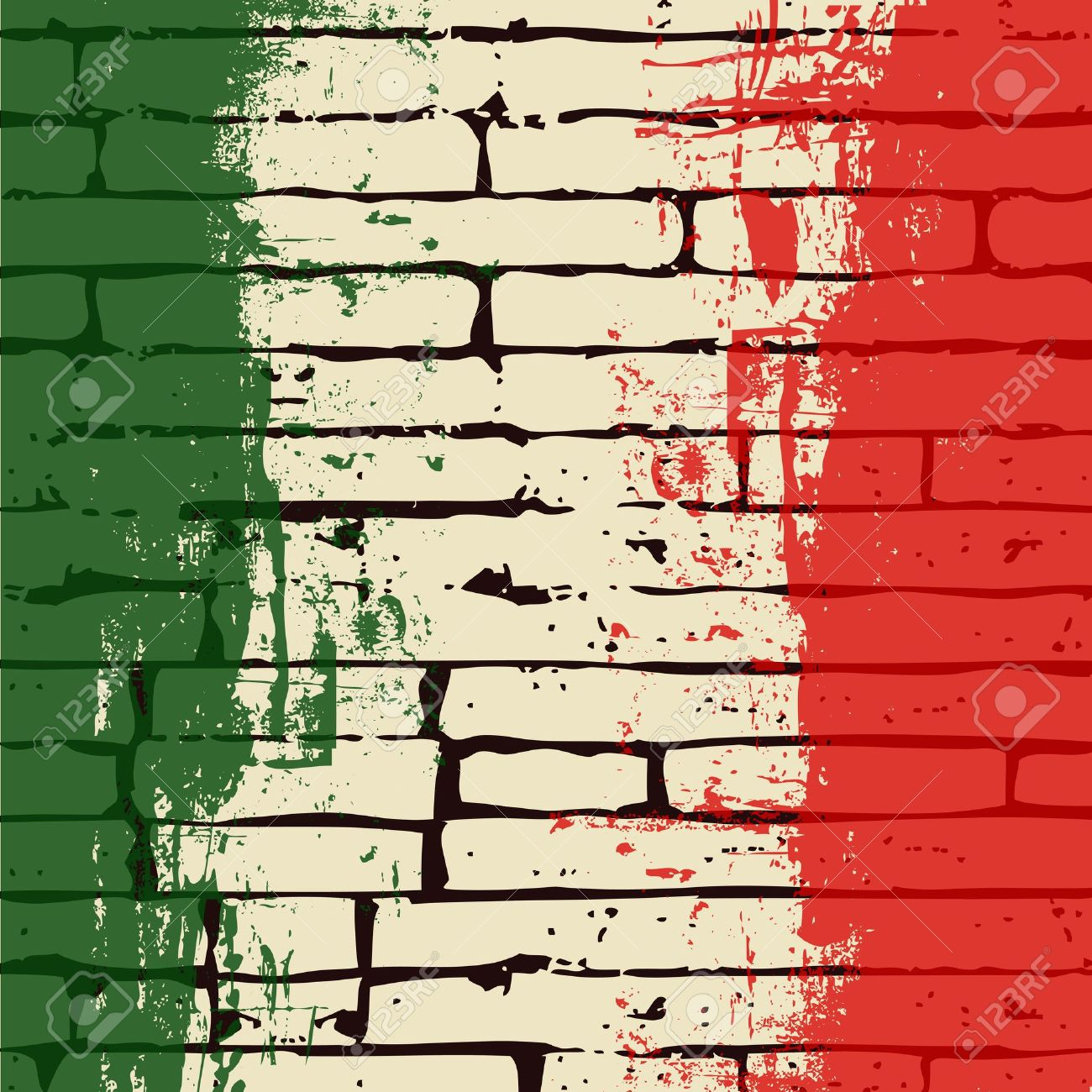 Grunge Italian Flag over a brick wall vector background Stock Vector - 9570578