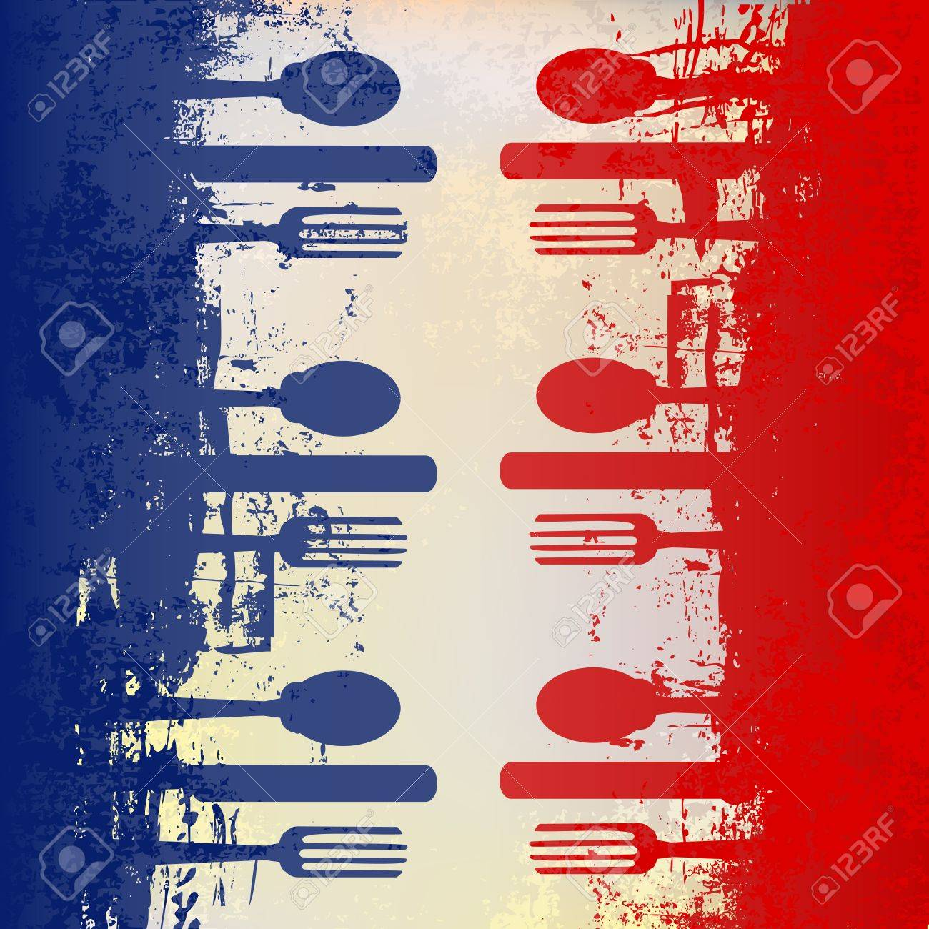 French Menu Vector Template Over A Flag Of France Royalty Free ...