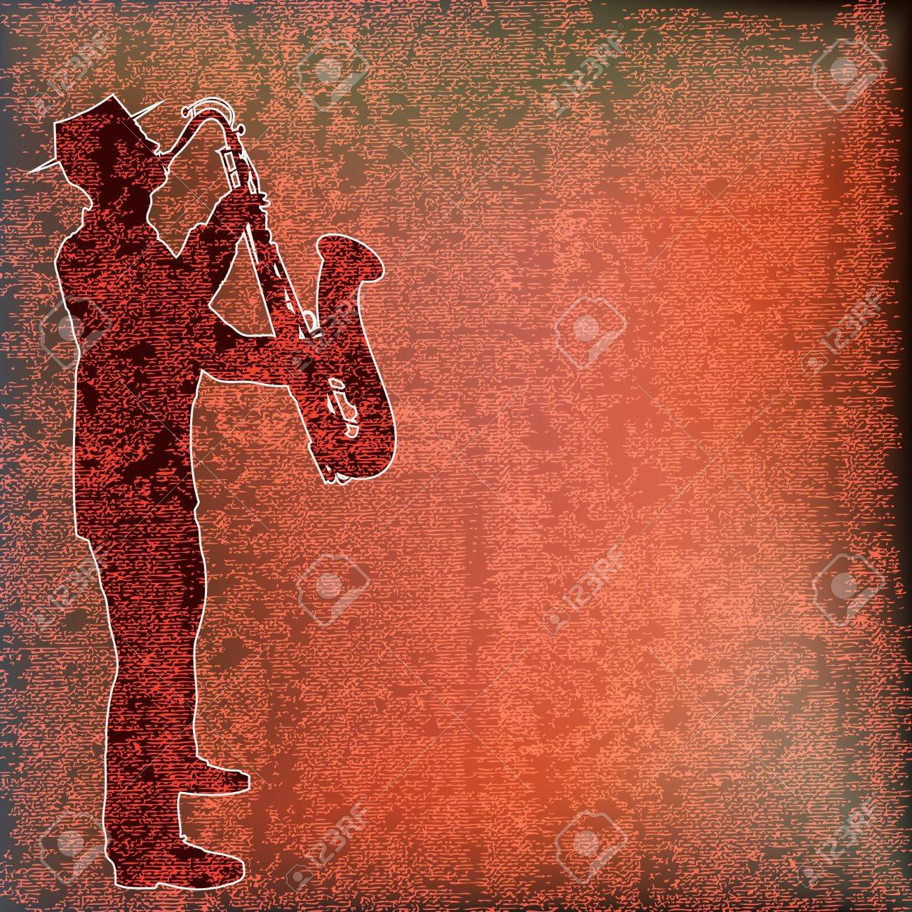 Saxophone Player over vintage paper Stock Vector - 12486415