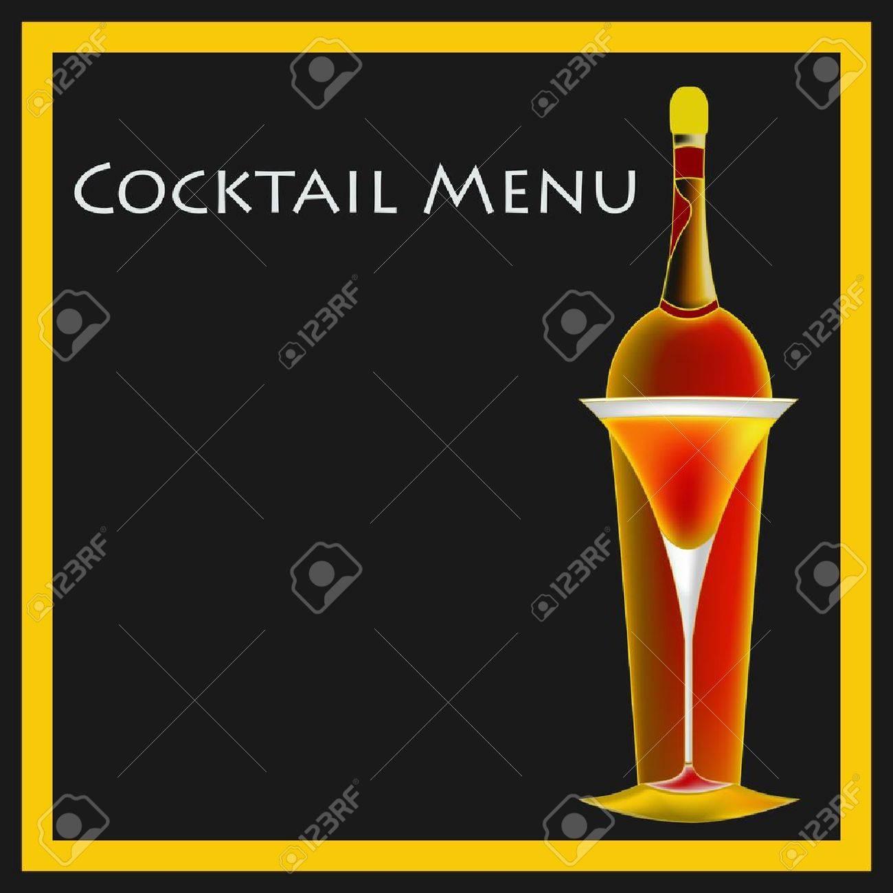 A Vintage Deco Style Cocktail Bar Menu Template Illustration – Bar Menu Template