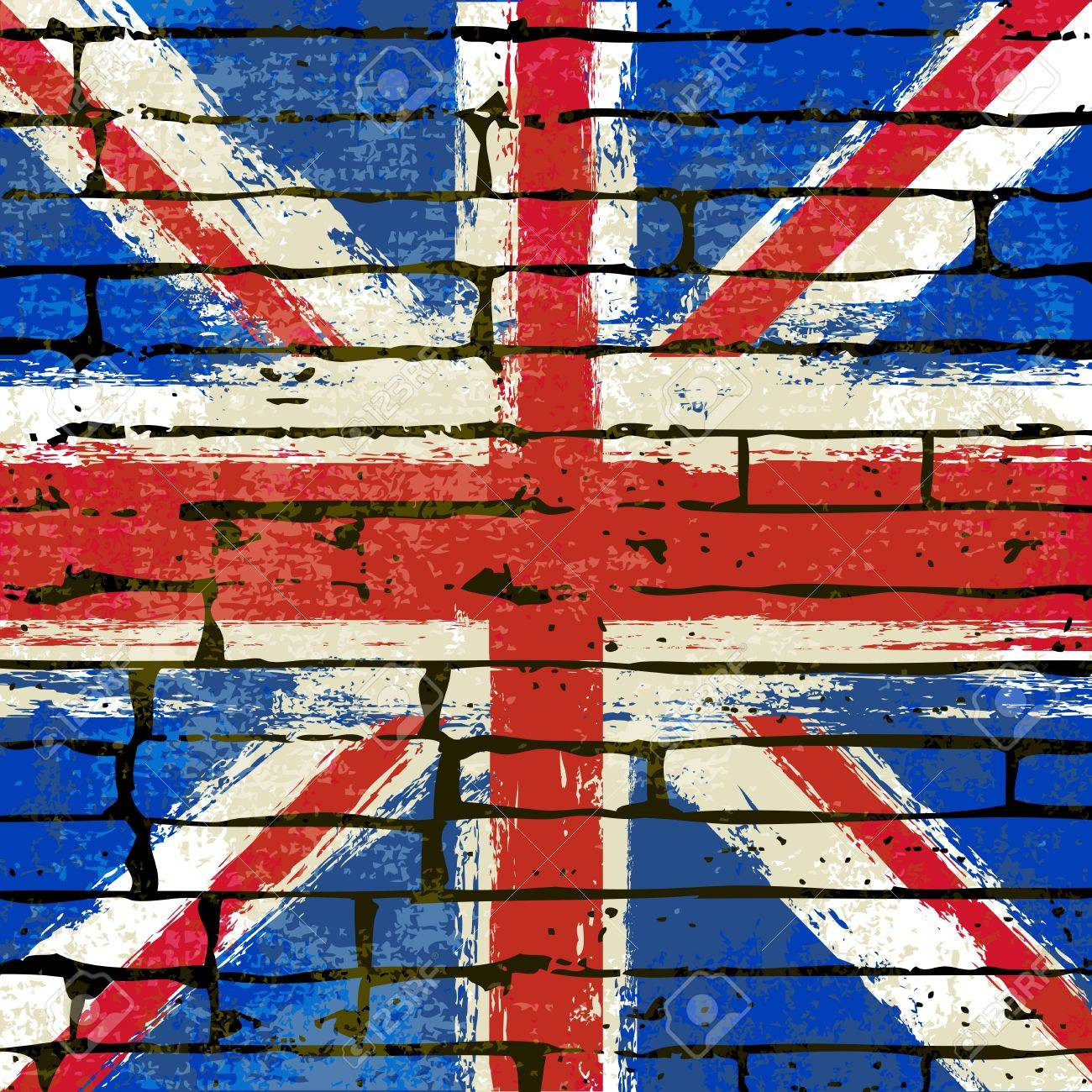 Grunged British Union Jack Flag over a brick wall  background  illustration Stock Vector - 13429867