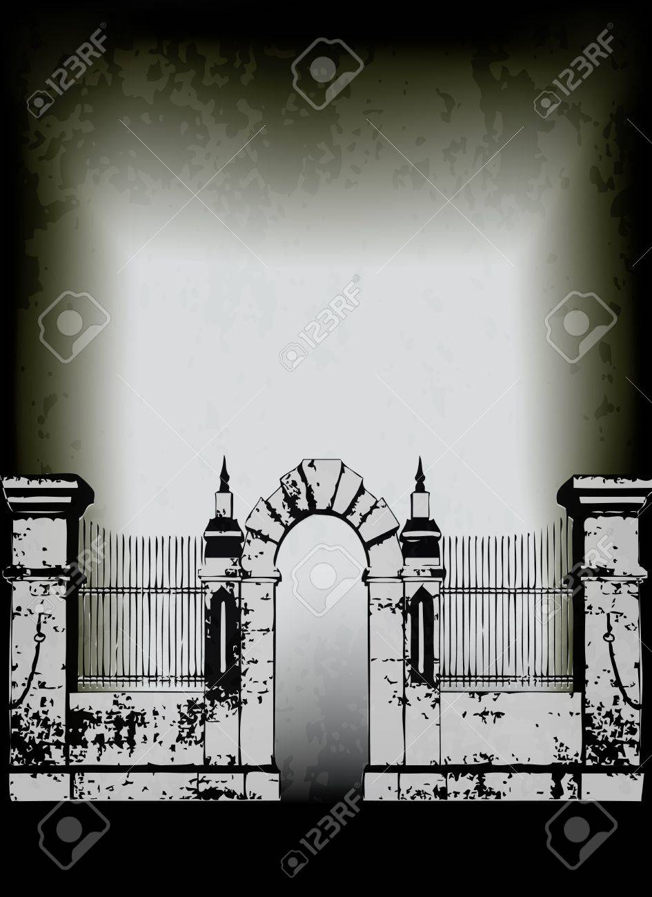 Halloween poster, with a gate to to a spooky graveyard Stock Vector - 14297621