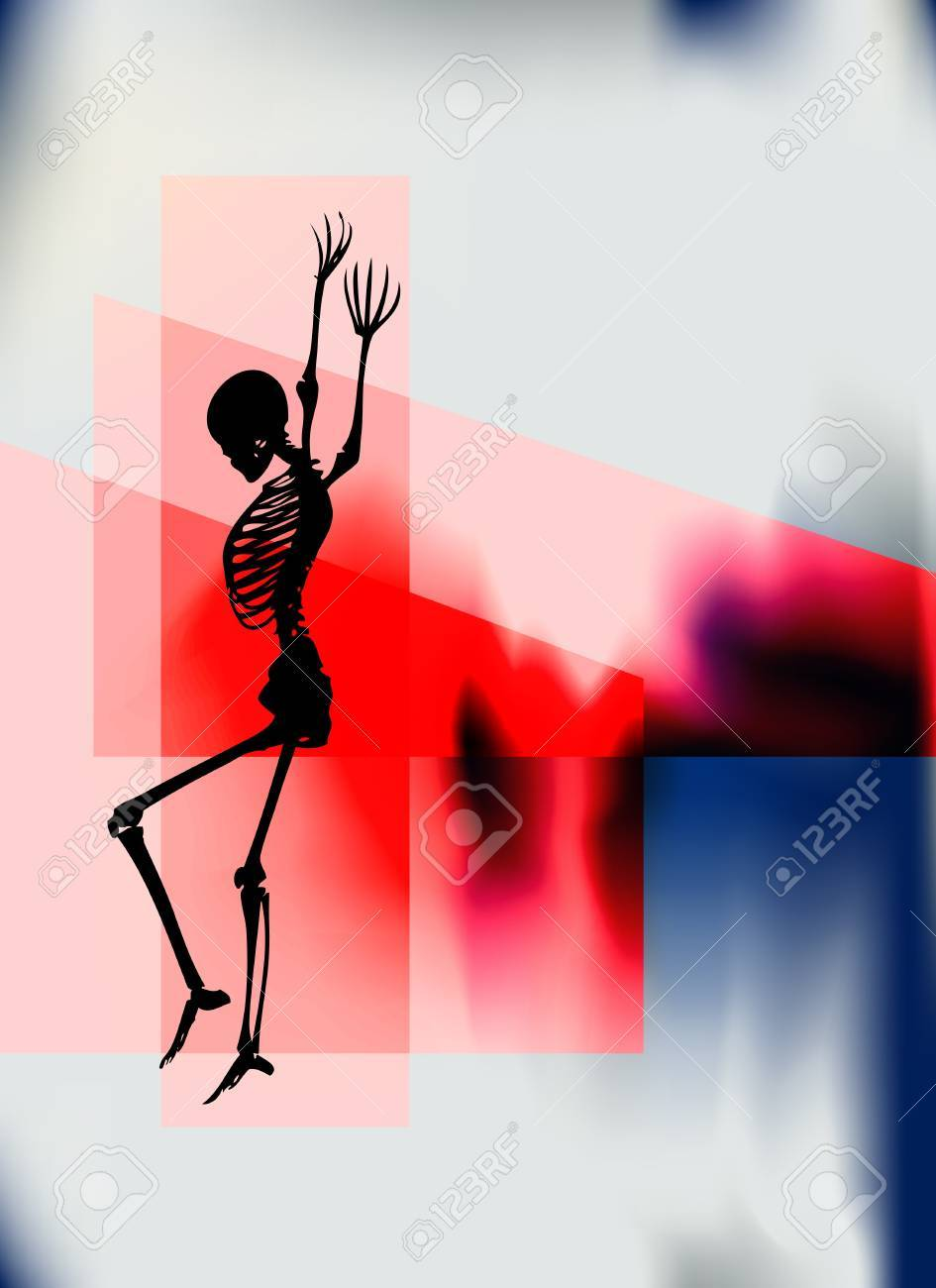 Halloween Night Poster with a dancing skeleton for a party or event Stock Vector - 18936341