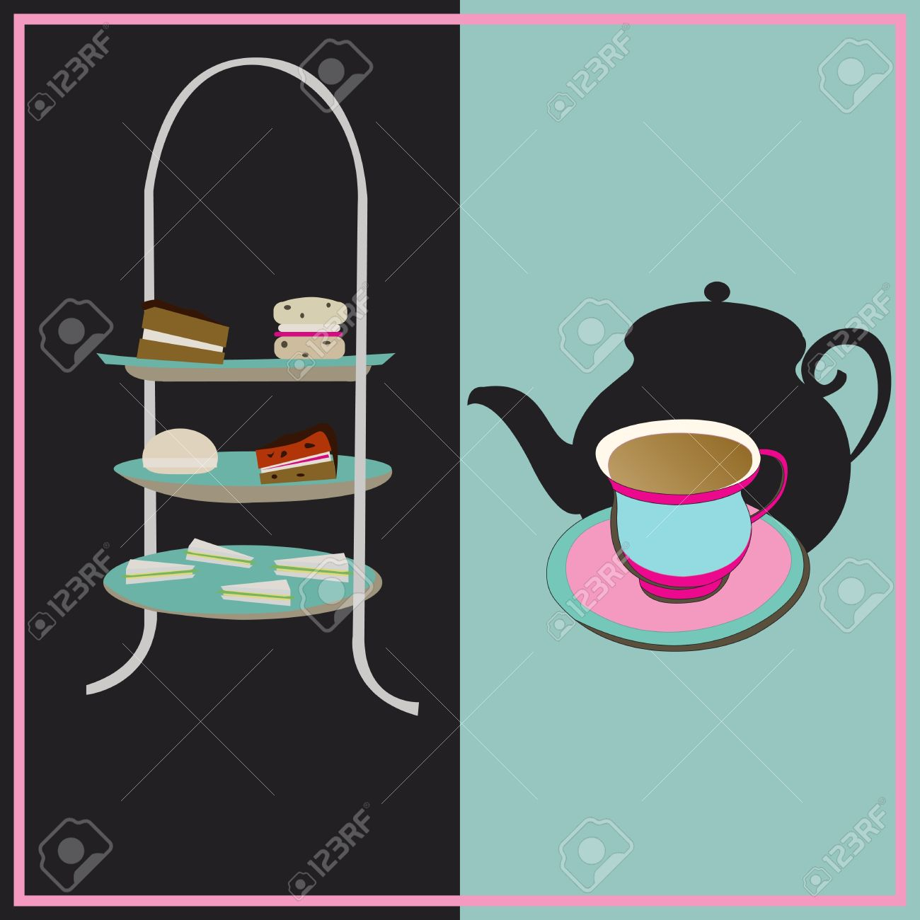 Elegant tea party invitation template with teacups cartoon vector - Afternoon Tea Afternoon Tea Vector Retro Background With A Cake Stand And A